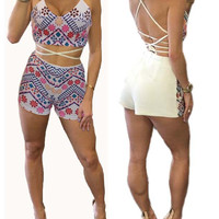 Boho Summer Fashion Cross Back 2 Two Piece Short Set