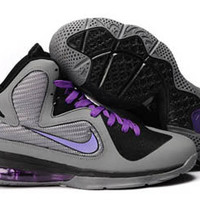 nike air max lebron ix 9 cool grey and black purple mens nba shoes sale