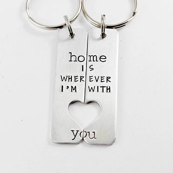 """""""Home is wherever I'm with you"""" Couples Keychain Set"""