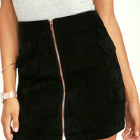 Mink Pink Feelin It Black Suede A-Line Skirt