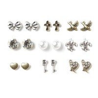 Painted Pearl and Antique Metals Stud Earrings Set of 9 | Claire's