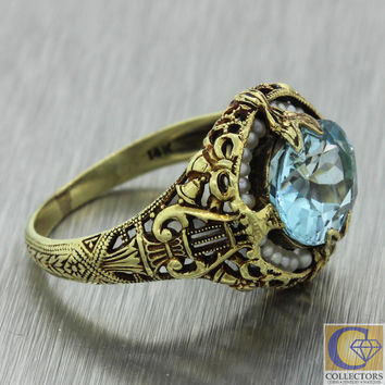 1920s Antique Art Deco 14k Solid Yellow Gold 2ct Oval Aquamarine Pearl Ring
