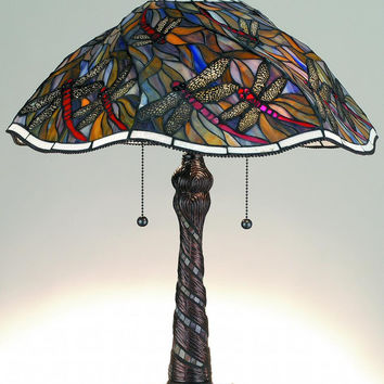 "0-009402>24""h Spiral Dragonfly and Mosaic Table Lamp"