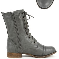 Beyonce-62 Gray Lace Up Combat Boots | MakeMeChic.com