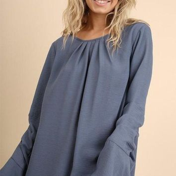 Simple Classics Bell Sleeve Blouse - Dusty Blue