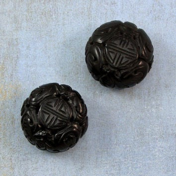 Black Cinnabar Carved 24mm Beads 50% off, qty 2