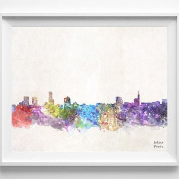 Birmingham Skyline, UK Watercolor, Poster, United Kingdom, Print, Wall Art, Cityscape, City Painting, room, Illustration, Europe [NO 446]