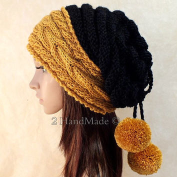Slouchy Beanie Slouch Hat Oversized Baggy Cabled Hat Neck Warmer womens Fall Winter Alpaca Wool Nawy Mustard Yllow Black Hand Made Knit