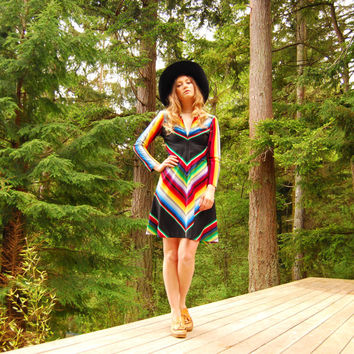 Vintage 70s Rainbow Chevron Long Sleeve Mini Dress, Mexican Blanket Zip Front Collared Boho Dress 60s 70s Hippie Dress Summer Festival Dress