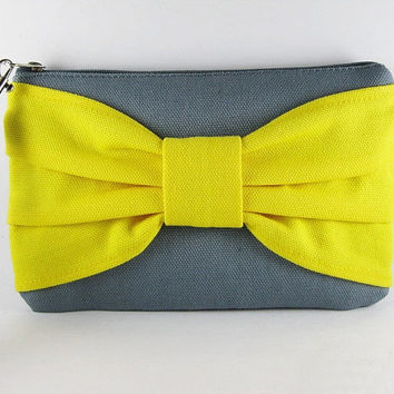 SUPER SALE - Gray and Yellow Bow Clutch - iPhone 5 Wallet, iPhone Wristlet, Cell Phone Wristlet, Cosmetic Bag, Zipper Pouch - Made To Order