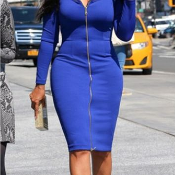 Blue Zipper-Down Sleeve Bodycon Dress