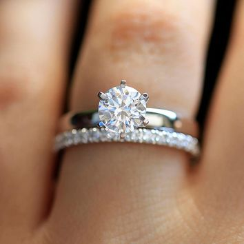 14K White Gold 1.3ctw DF Round Moissanite Engagement Ring Set Band lab Diamond Solitaire Wedding for Women (2 Pieces ring)