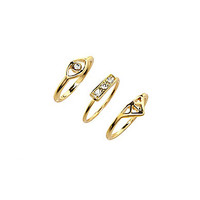 Anna & Ava Delicate Eye Ring Set - Gold/Crystal