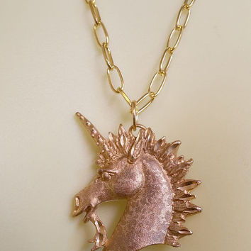 unicorn horse necklace pendant gold chain necklaces fantasy charm jewelry