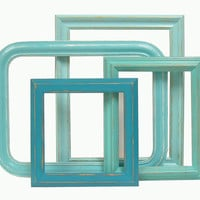 Shabby Chic Lg Picture Frames Turquoise Aqua Set Open Frames Vintage Home Decor