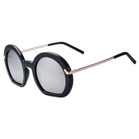 Silver Mirror Lens Semicircle Frame Sunglasses
