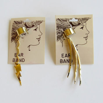 Pair of Vintage 1980s New Wave / Rocker Gold-tone Ear Cuffs / Lighting Bolt Ear Band / Deadstock / NOS