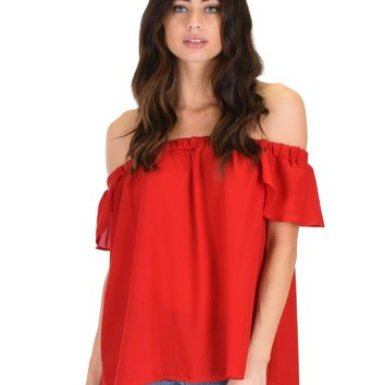Lyss Loo Sunny Honey Off The Shoulder Sheer Red Blouse Top
