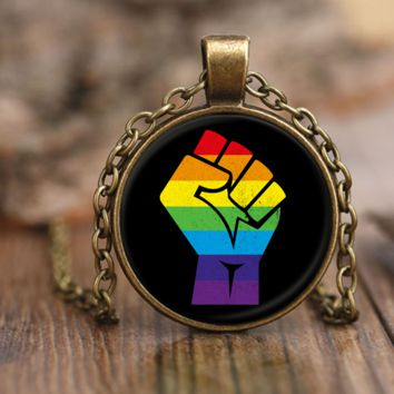 LGBT Resistance Necklace by Living Gay   Gay Necklace, LGBT Necklace, Lesbian Necklace