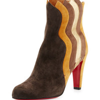 Christian Louboutin Wavy Colorblock Suede Red Sole Boot, Chatain/Multi