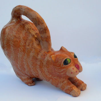 Cromwell the Cat - OOAK Paper Mache Clay Orange Tiger Cat