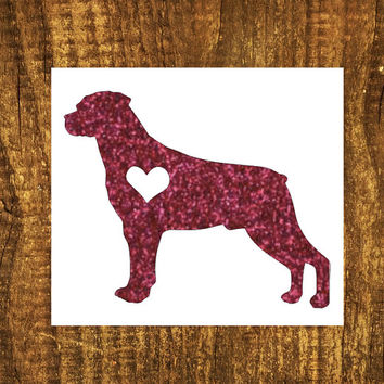 GLITTER Rottweiler Heart Decal | Rottweiler Mom Decal | Dog Mom Decal | Dog Dad Decal | Dog Family Decal | Love Sticker | Love Decal |204