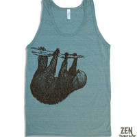 Unisex Tree SLOTH Tri Blend Tank Top american by ZenThreads