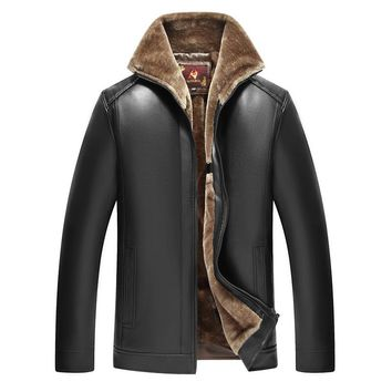 PU Winter Men Jacket Windbreaker Warm Fleece Thick Parka Casual Male Varsity Outerwear Zipper Long Sleeve Leather Coat Overcoat
