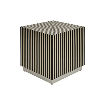 Worlds Away Lyno Black and White Accent Table