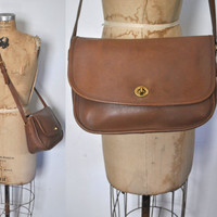 Brown Coach Messenger Bag / Satchel Leather Purse
