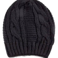 Slouchy Thick Cable Knit Beanie (2 Colors Available)