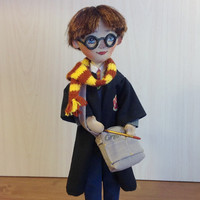 Harry Potter movie doll  wizard  cloak Hogwarts textile doll Potter scarf magic wand art doll  gryffindor rowling cloth doll