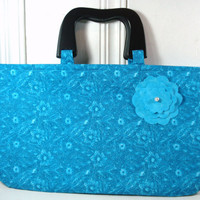 Medium Size Purse, Teal Purse, Black Wooden Handles, With Coin Purse