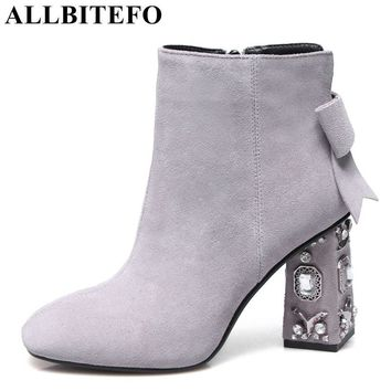 ALLBITEFO Rhinestone heel genuine leather square toe high heels women boots square toe high quality ankle boots girls boots