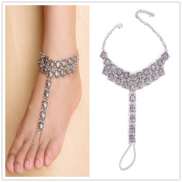 1 Piece Vintage Bohemian Anklet Antique Silver Toe Ring Ankle Chain Women Foot Jewelry 1K3001