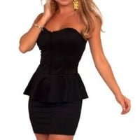 Amazon.com: Strapless Sweetheart Bust Waist Ruffle Evening Party Cocktail Peplum Dress S M L: Clothing