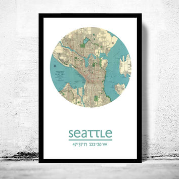 SEATTLE - city poster - city map poster print