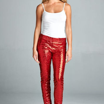 Sequin Pants - Red - Ships Wednesday 11/9