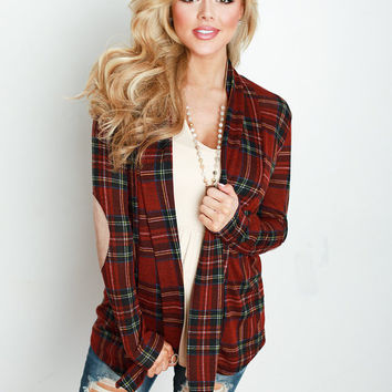 Plaid Holiday Cardigan with Suede Elbow Patches