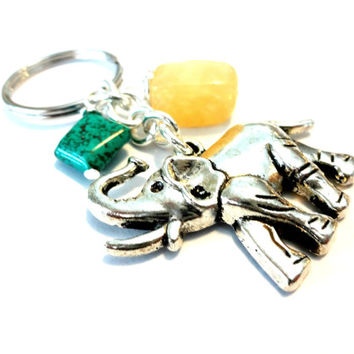 African Elephant Lucky Keychain, Turquoise and Honey Jade Gemstone Key Chain, Elephant Gifts, Cute Car Accessories