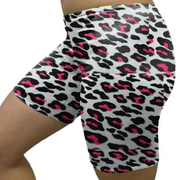 "Outta Bounds Animal Print Neon Pink Spandex Bike Shorts Custom 7"" 4"" 2.5"" inseam"