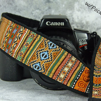 Tribal Stripe Camera Strap, with Pocket, Southwestern, dSLR, SLR, 141 wc