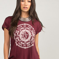 Live By The Sun Graphic Tee - Burgundy - Burgundy /