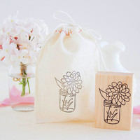 Flower in a Mason Jar Vase Handcrafted Rubber Stamp - Rustic Wedding Stamp for Invitations Favors Gift Bags - Bouquet in a Jar