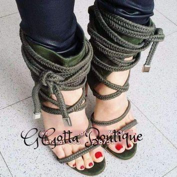 Tie Up Cross Strap Lady Ankle Boots Rope Rome Style Woman High Heels Boots Ankle Sandal Boots Shoes