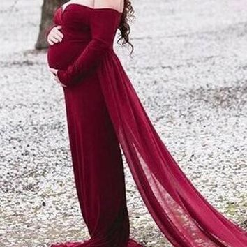 a6f673c95470f New Burgundy Patchwork Grenadine Off Shoulder Photoshoot Mermaid Cloak  Elegant Maternity Maxi Dress