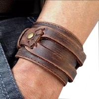 Unisex Handmade Comfortable Leather Cuff Bracelet