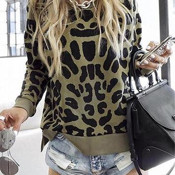 Brown Cotton Leopard Print Split Side Long Sleeve Sweater
