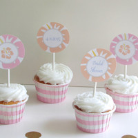 Hawaiian Luau Bridal Shower Printable Party Cupcake Toppers