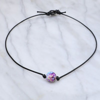 Tie Dye Pearl on a Cord - Purple